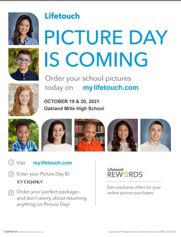 Image of Life Touch Picture Day Flier for October 19 & 20, 2021.