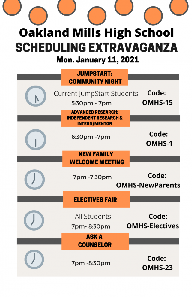 Image of the schedule for the scheduling extravaganza night on January 11, 2021.